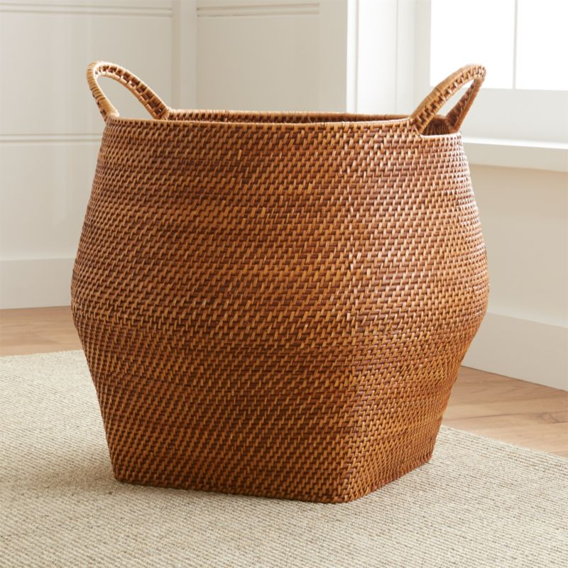 Sedona Honey Round Rattan Storage Basket Crate And Barrel