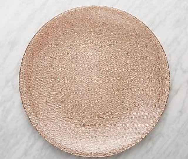 Shimmer Rose Gold Glass Platter Charger Plate
