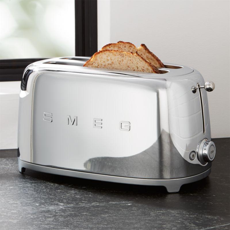 SMEG Silver 4 Slice Retro Toaster Reviews Crate And Barrel