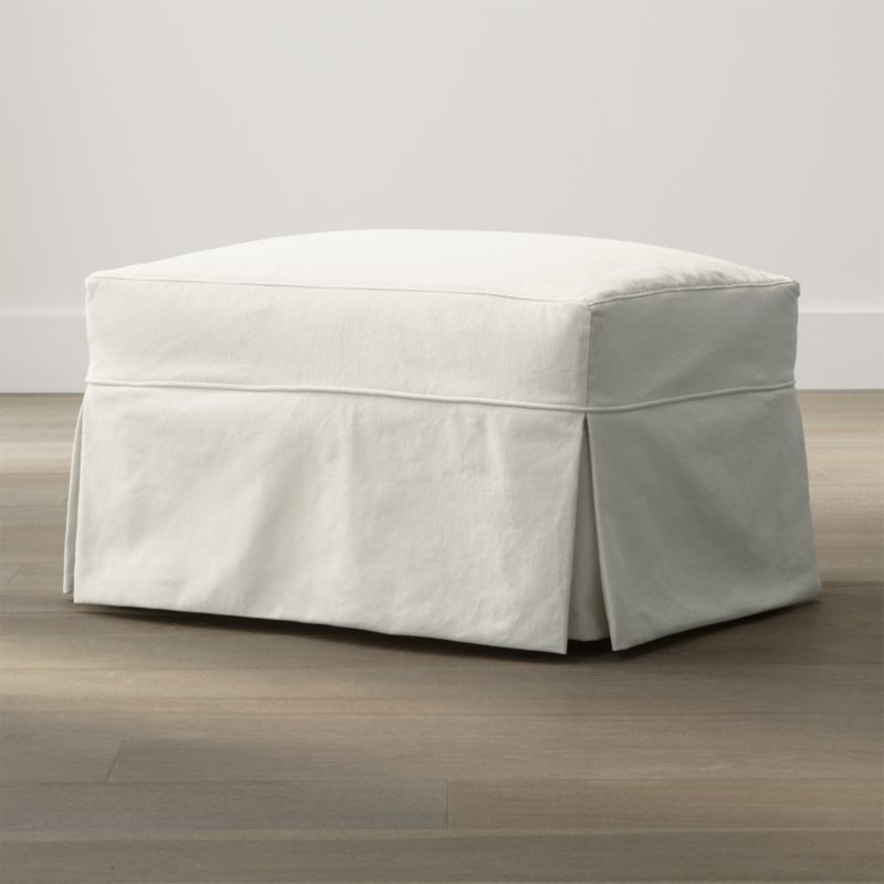 willow modern slipcovered ottoman with casters reviews crate and barrel