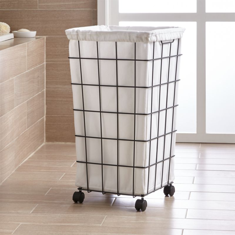 Black Wire Hamper With Wheels And Liner Reviews Crate