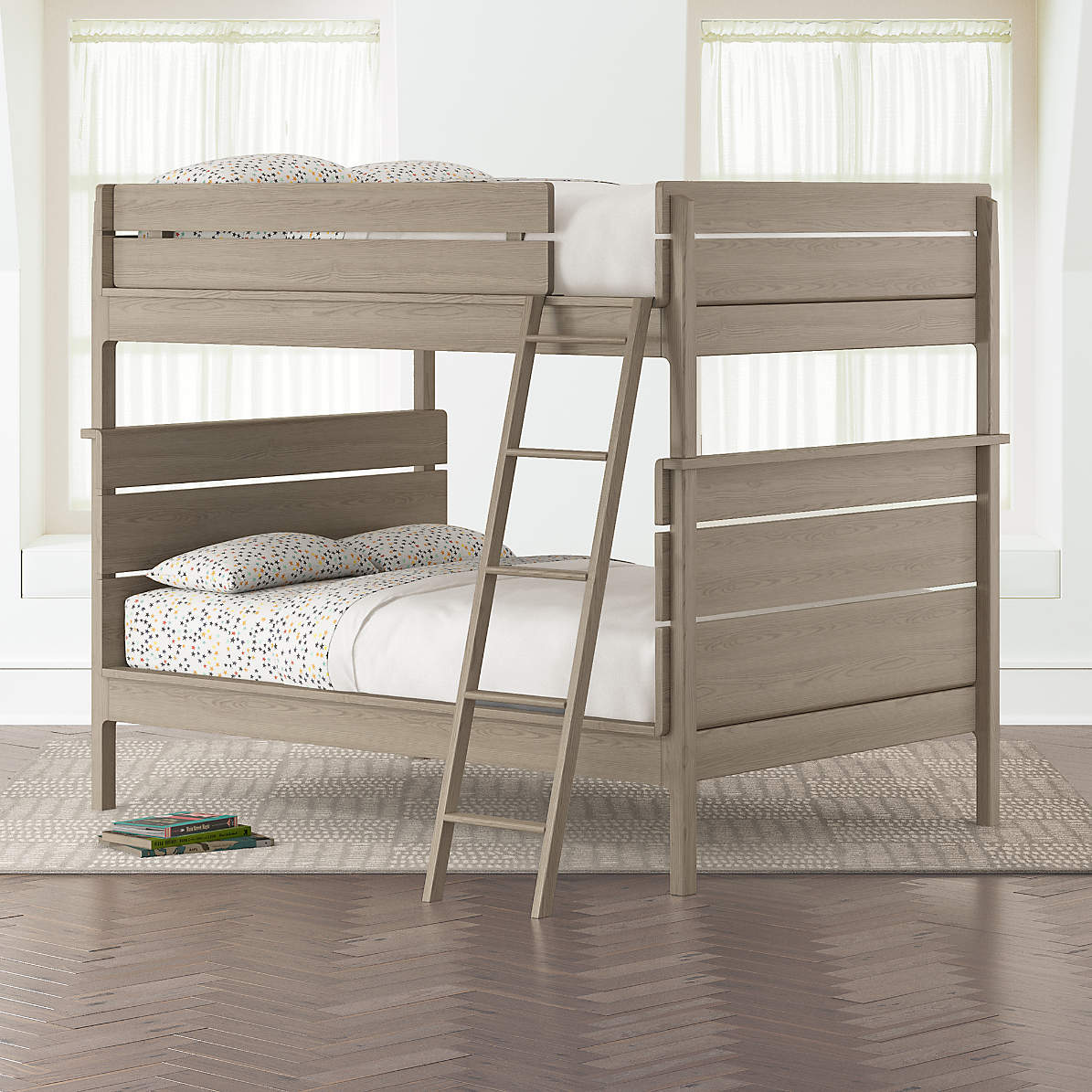 Kids Grey Full Over Full Bunk Bed Reviews Crate And Barrel