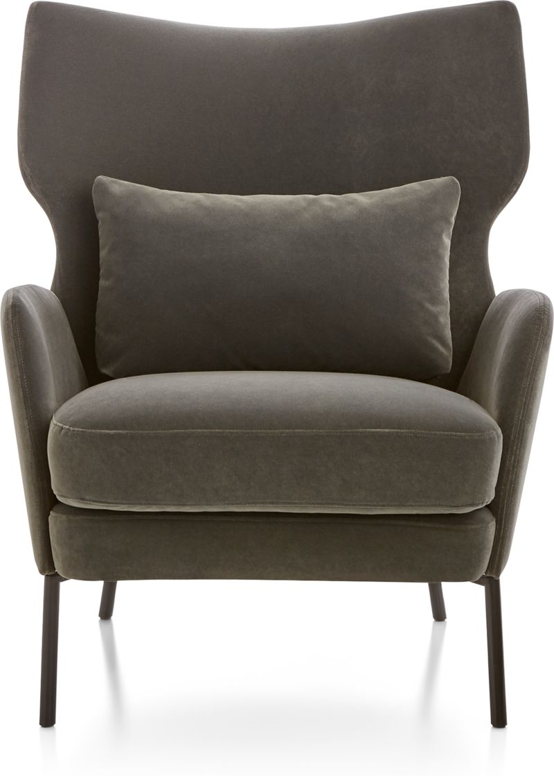 Alex Grey Velvet Accent Chair Reviews Crate And Barrel