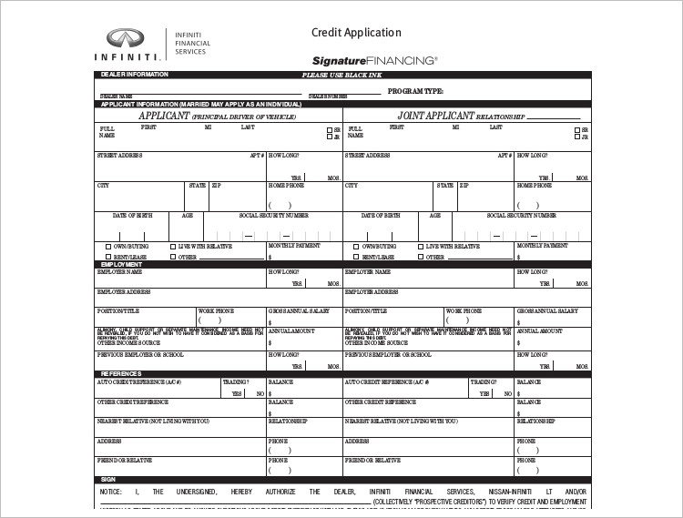 The form has sections for application information, employment information, debts, and assets. Ford Business Credit Application Pdf