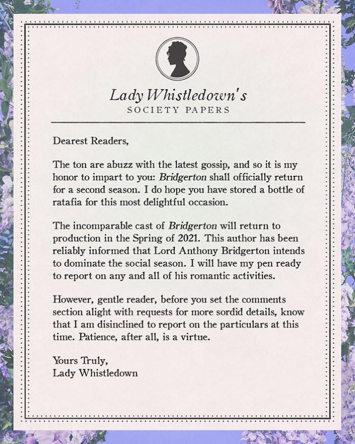 Lady Whistledown Bridgerton Lettter