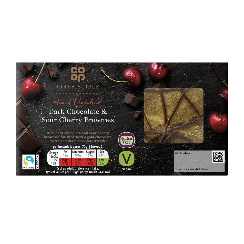 Co-op Irresistible Dark Chocolate & Sour Cherry Brownies 2 pack