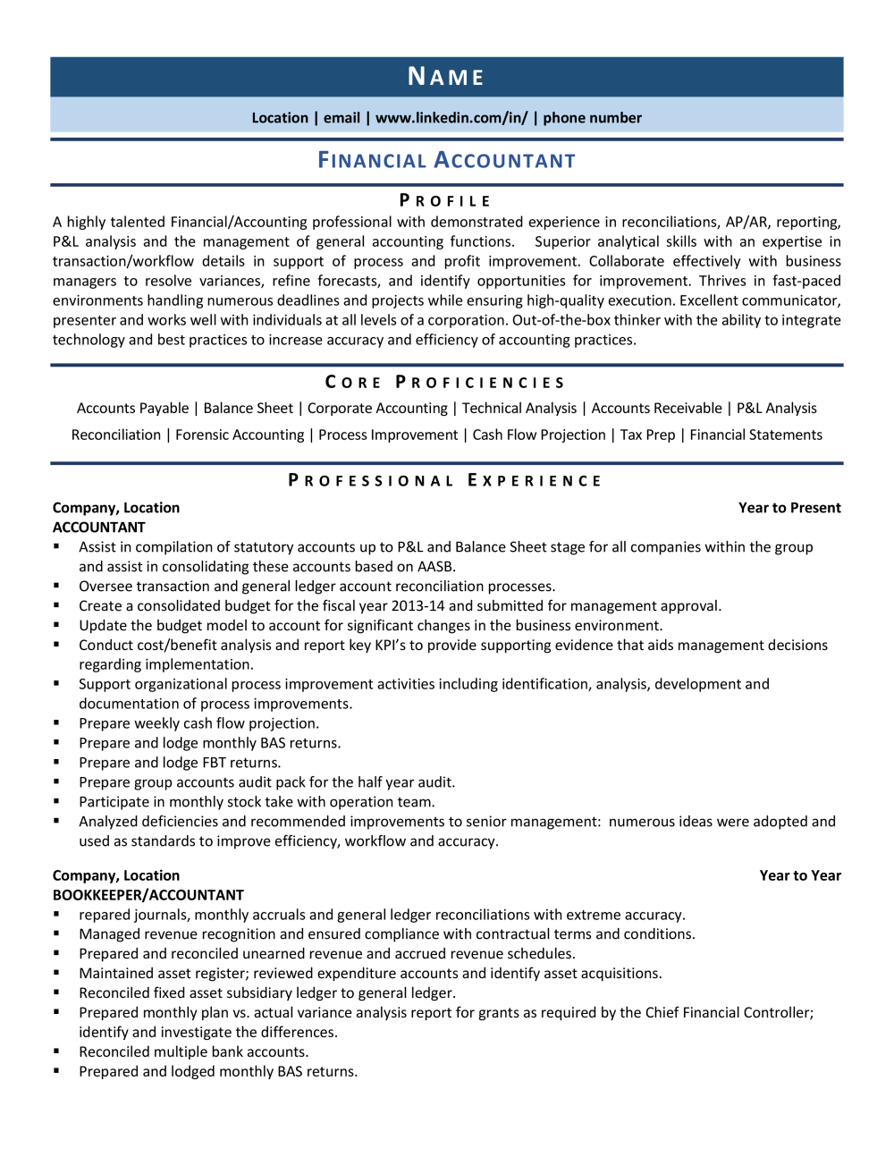 Bachelor's degree in accounting from an accredited university and experience of 12+ years overall or master's degree and 10+ years of experience. Financial Accountant Resume Example Template For 2021 Zipjob