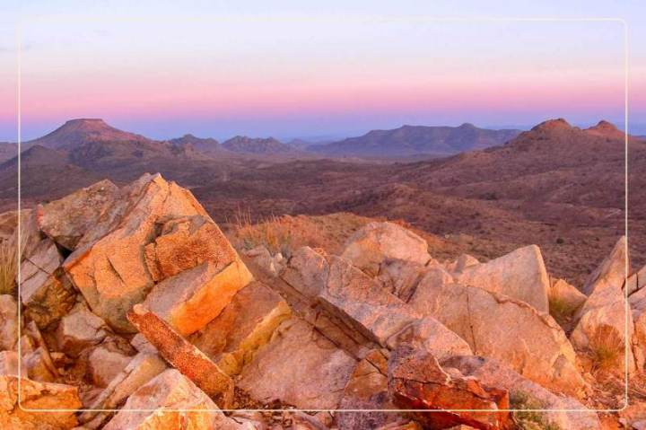 the sun sets on the Mojave National Preserve, a dog-friendly national park where one can go hiking with dogs
