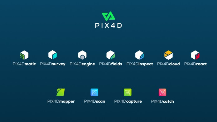 Pix4D product portfolio with logos and names