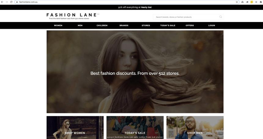 fashionlane homepage