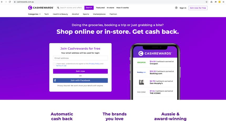 Cashrewards homepage