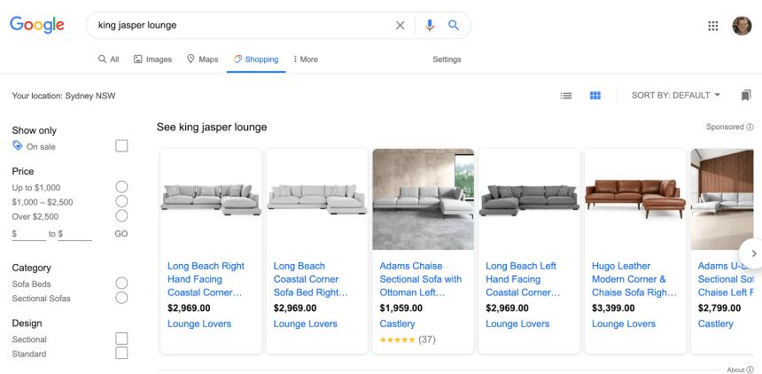 google shopping search showing King Jasper lounge deals