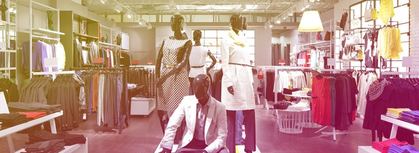 The inside of a clothing store - dummies clothed in the latest fashion