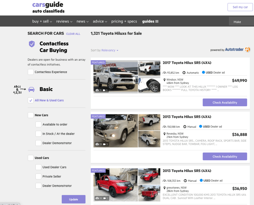 carsguide homepage featuring toyota hilux offers
