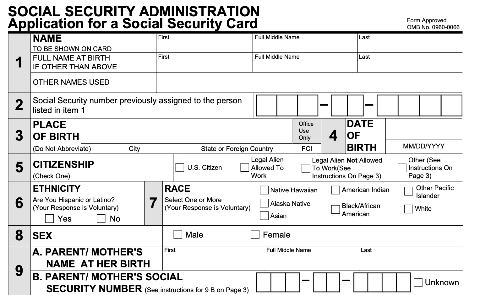 If you are not a u.s. Form Ss 5 Social Security Card Replacement Form Smallpdf