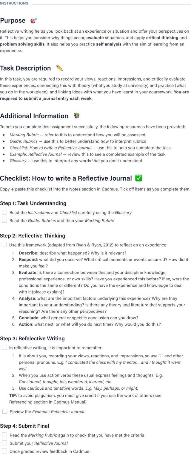Reflective Journal Template  Cadmus