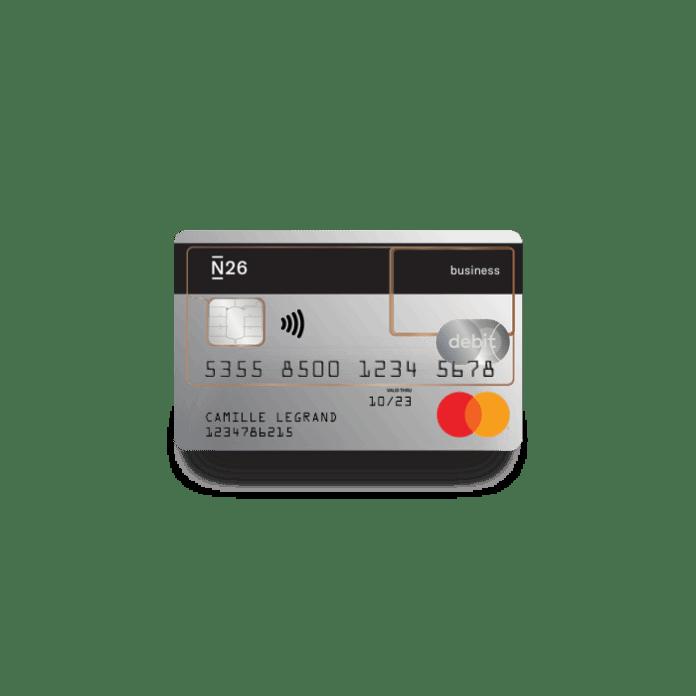 N26 Business, compte bancaire standard gratuit, carte de débit Mastercard transparente avec cash-back