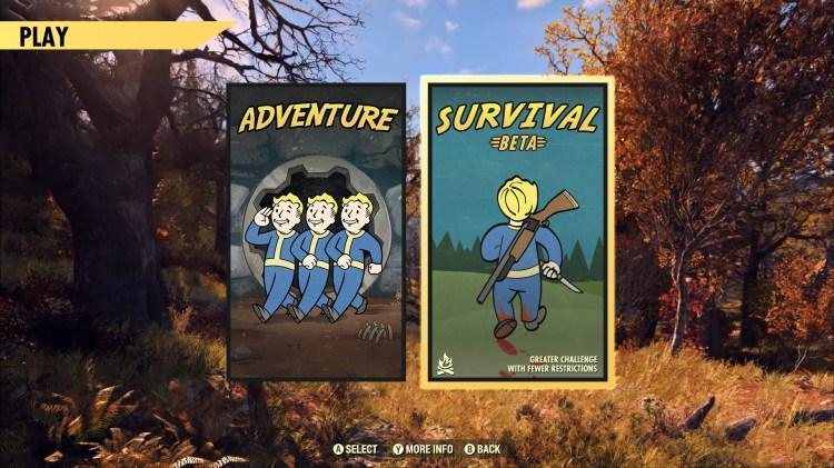 Selección de modo de juego en el menú principal: Supervivencia 003