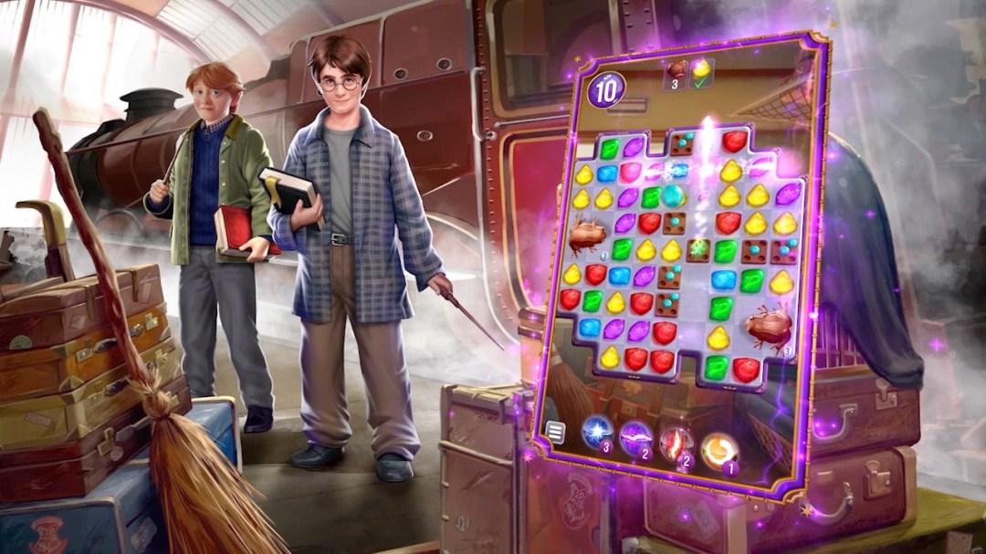 Animovaní Ron a Harry na nástupišti 9 a 3/4 v levé polovině obrázku. Vpravo je tabulka s úkolem (skládání barevných kamenů).