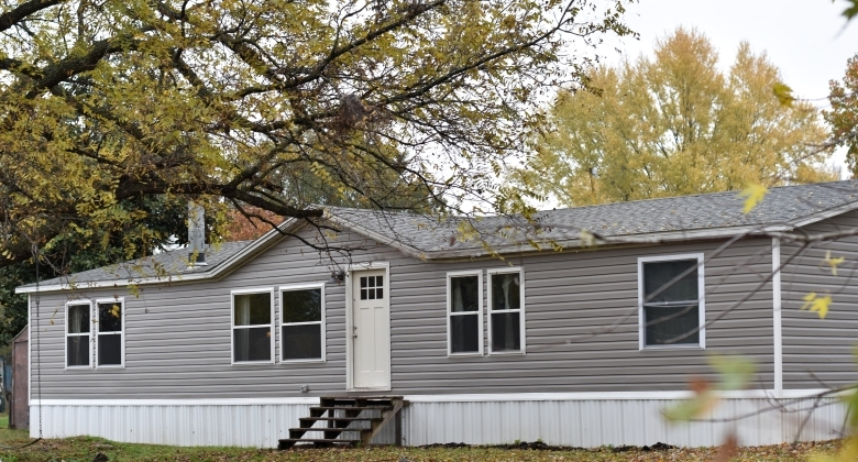 Mobile Home Farmhouse Remodel Clayton Studio | Mobile Home Outside Steps | Siding | Landscaping | Trailer | Double Wide | Deck