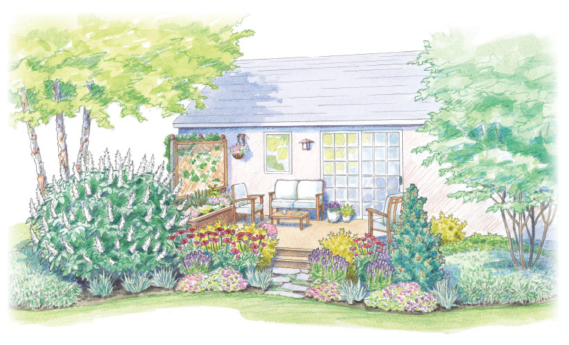 colorful deck planting plan garden gate