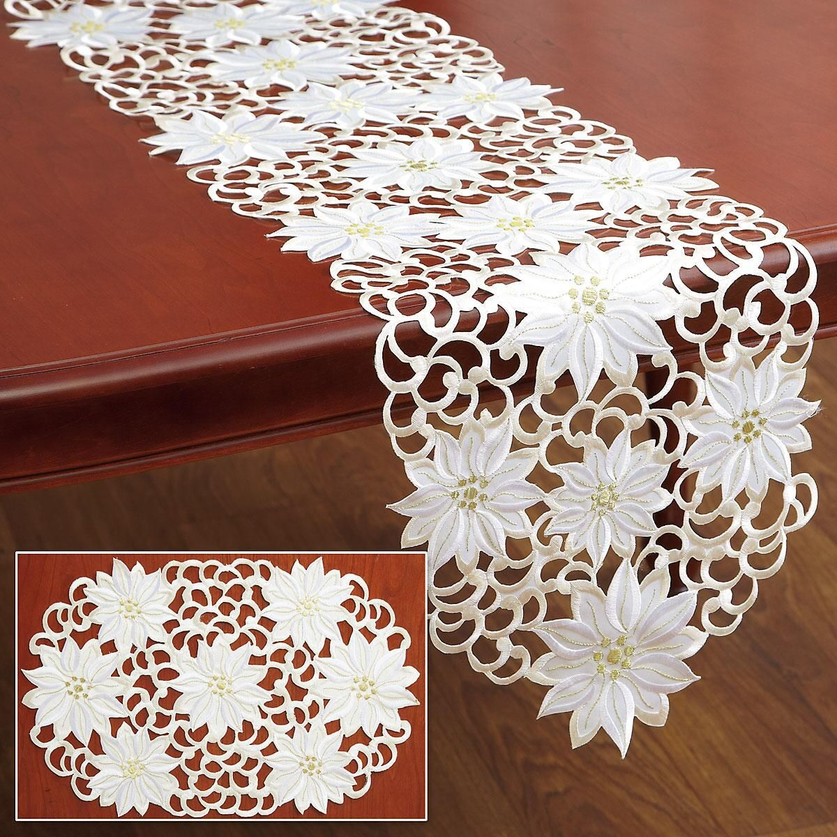 Best Kitchen Gallery: White Poinsettia Table Runner Place Mats Current Catalog of Table Runners  on rachelxblog.com