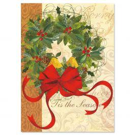 Winter Garden Wreath Religious Christmas Cards Current