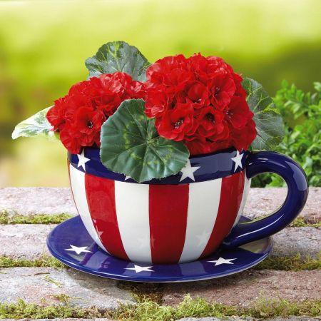 Patriotic Teacup Flower Pot Current Catalog