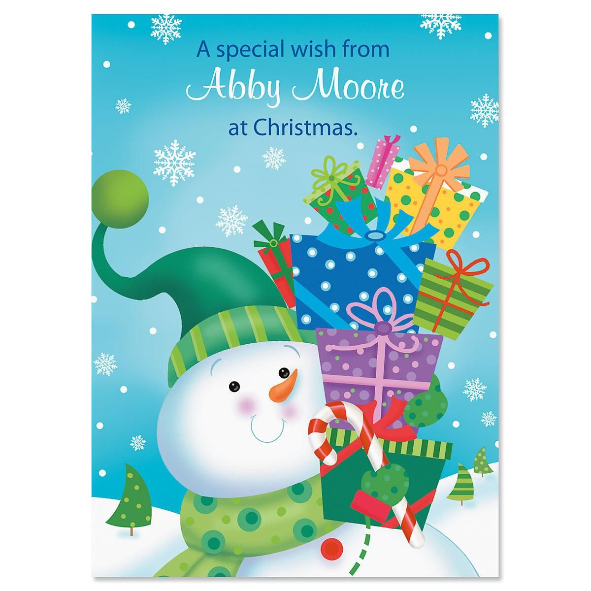 Snowman With Gifts Non Personalized Classic Christmas