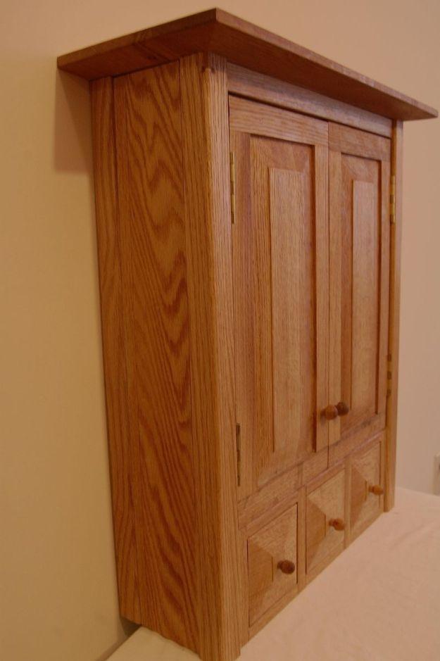 custom country oak three drawer spice/medicine cabinet