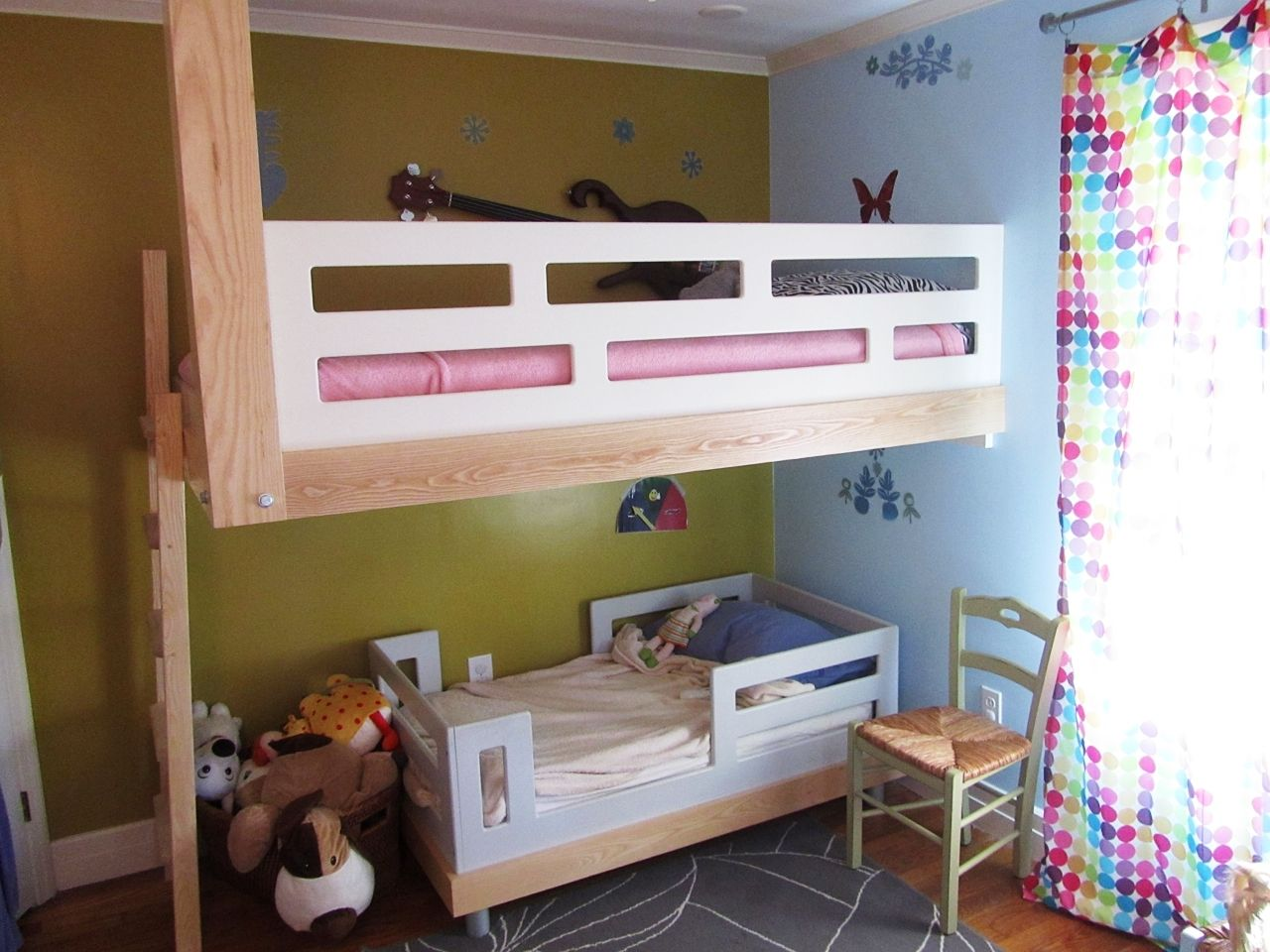 Hand Made Architecural Woodworking Floating Bunk Bed By