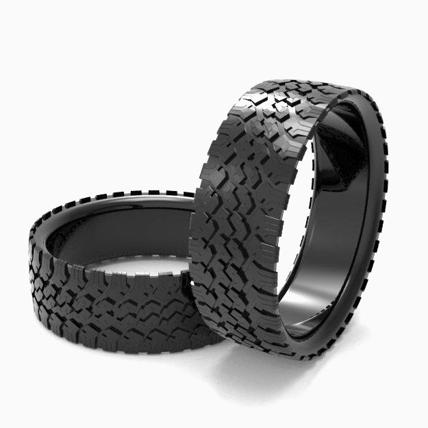 Buy A Hand Made Mens Tire Wedding Band Black Silver Tire