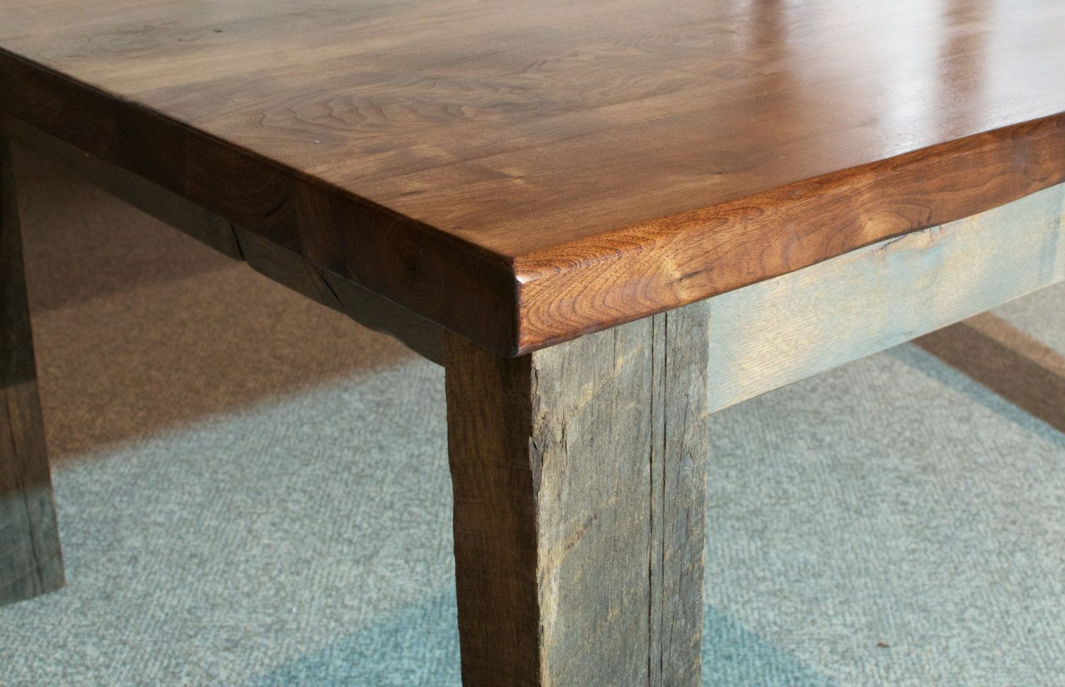 Hand Crafted Walnut Dining Table Live Edge With Reclaimed
