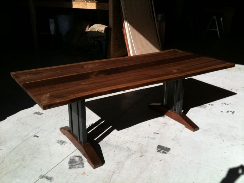 Hand Made Live Edge Walnut Dining Table   Tressel Legs by Bdagitz     Custom Made Live Edge Walnut Dining Table   Tressel Legs