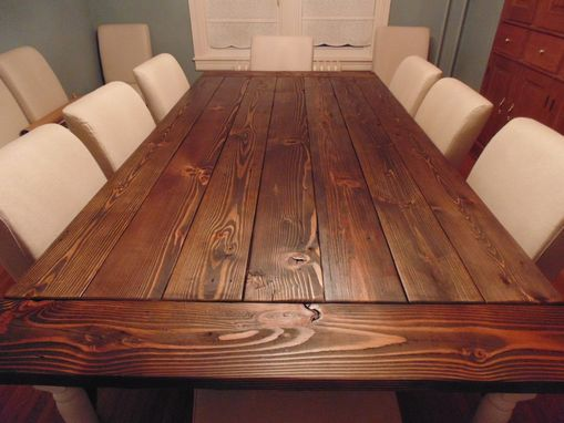 Hand Crafted Reclaimed Wood Farmhouse Table With Beautiful