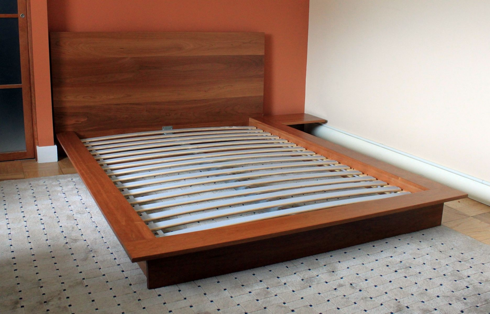 Custom Platform Bed With Integrated Night Stand