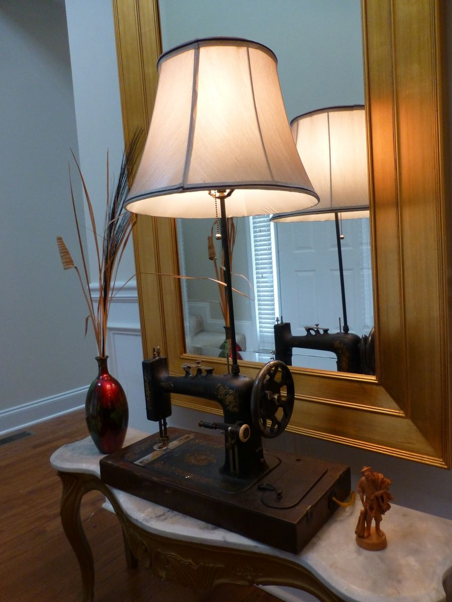 Hand Made Antique Piedmont Sewing Machine Lamp Upcycle By