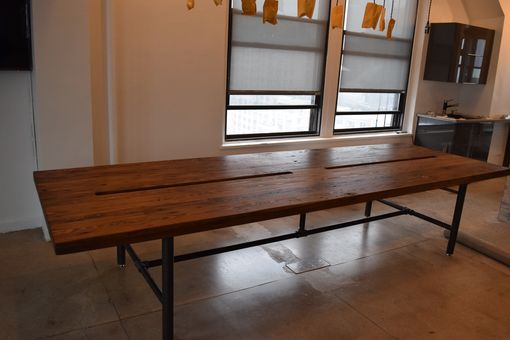 Handmade Reclaimed Wood Conference Table With Pipe Legs By Reworx USA