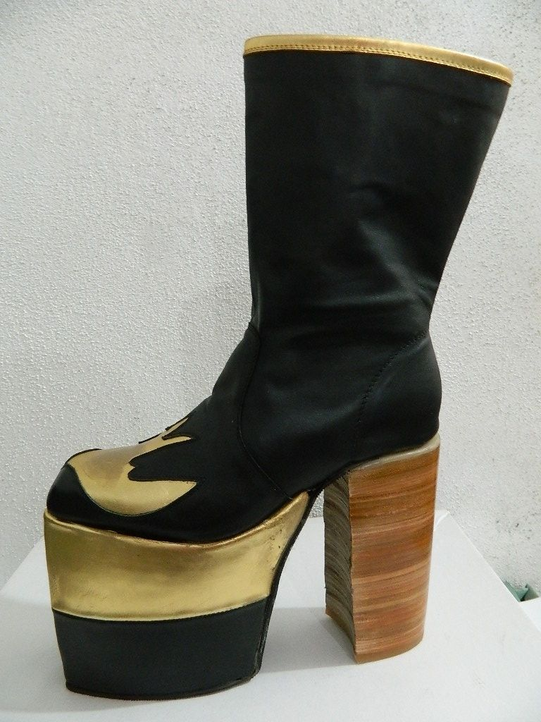 Hand Made Glam Platform Golden Swallow Genuine Leather