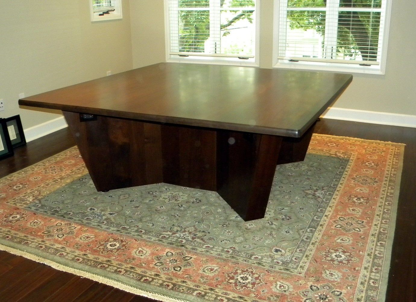 Hand Made Square Conference Table By North Texas Wood