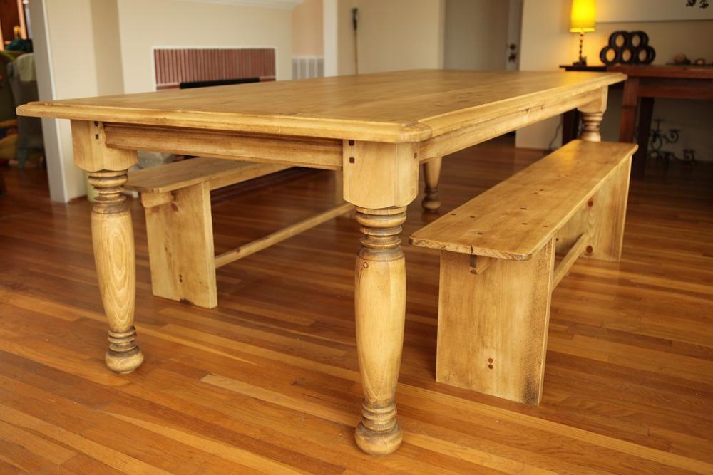 Custom Made Farm Table W Hand Turned Legs By Farmhouse