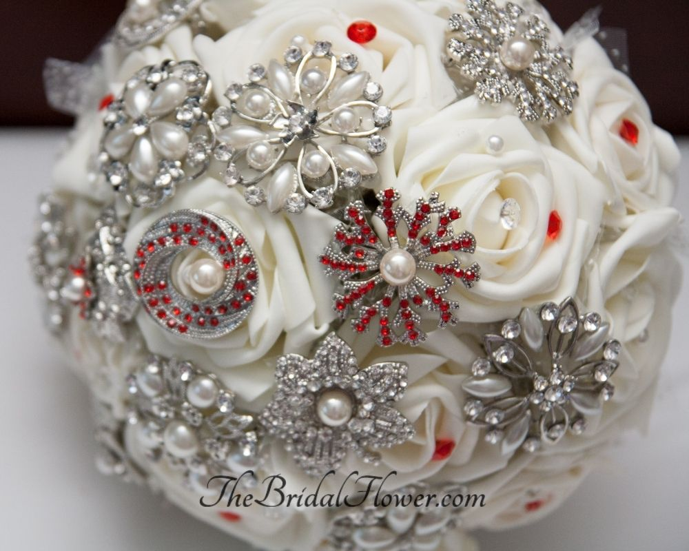 Custom Brooch Wedding Bouquet With CreamIvory Roses And