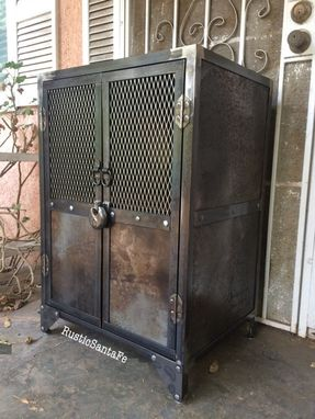 Buy A Hand Crafted Industrial Steel Locking Liquor Cabinet