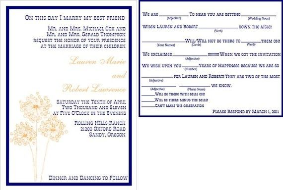 Fun Friday Chalk Outline Mountain Wedding Invitations With Mad Lib Rsvp