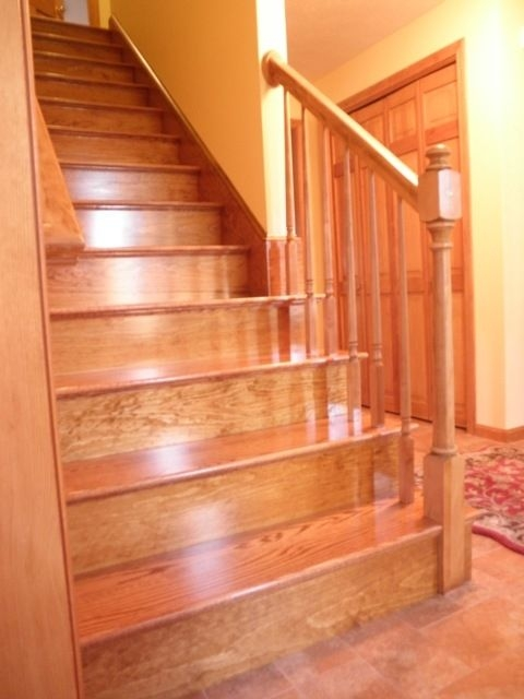 Custom Made Red Oak Stairs By Broughton Woodworks Custommade Com   Red Oak Stair Railing   Inside   2 Tone   Beautiful   Color   Two Toned