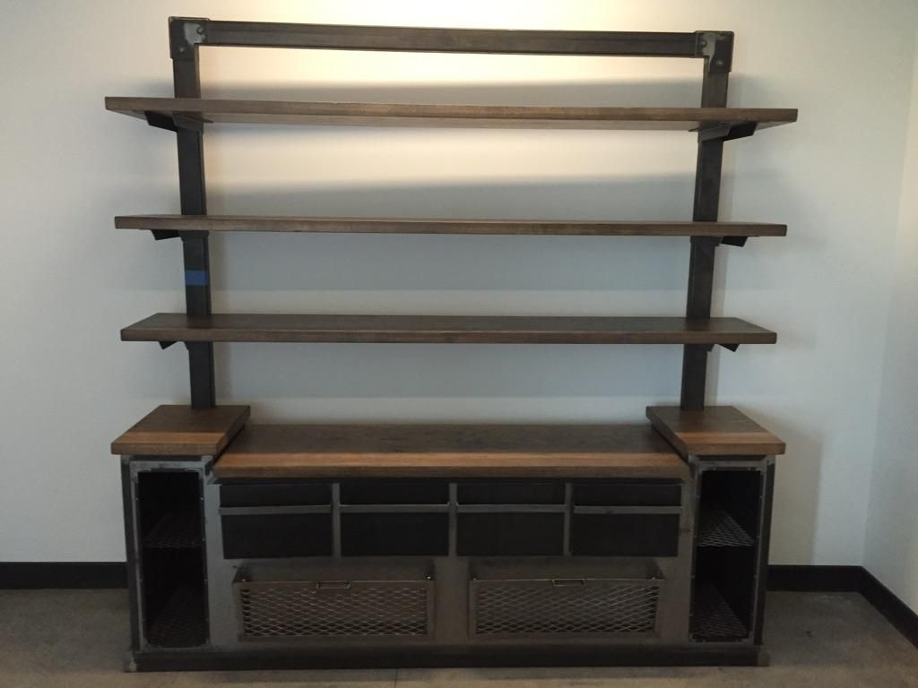 Hand Crafted Modern Industrial Office Credenza And