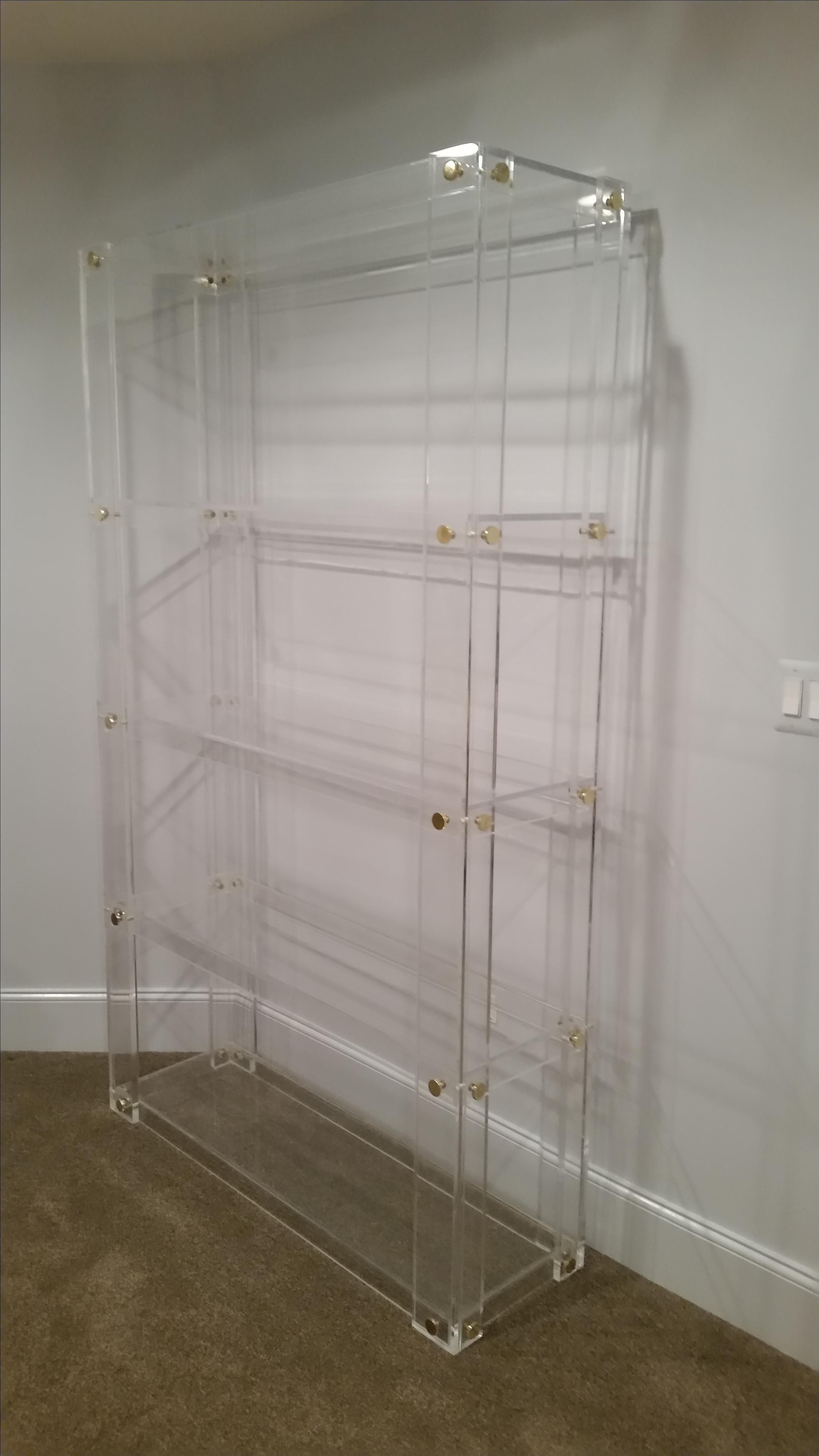 Hand Made Lucite Acrylic Bookcase Button Line Handcrafted Made To Order Custom Sizing