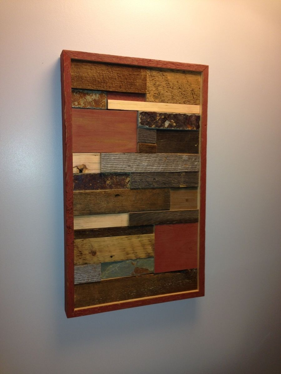 Handmade Barnwood Wall Art With Tile Accent By Ore Dock Design