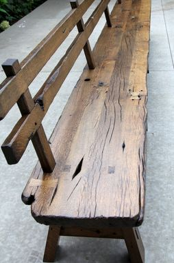 Custom Made Live Edge Barnwood Bench With Back Rest 15