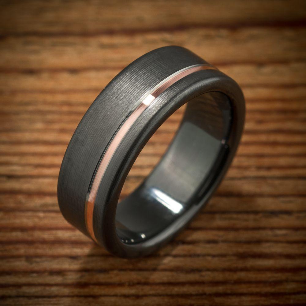 Buy A Custom Made Black Zirconium Rose Gold Wedding Band